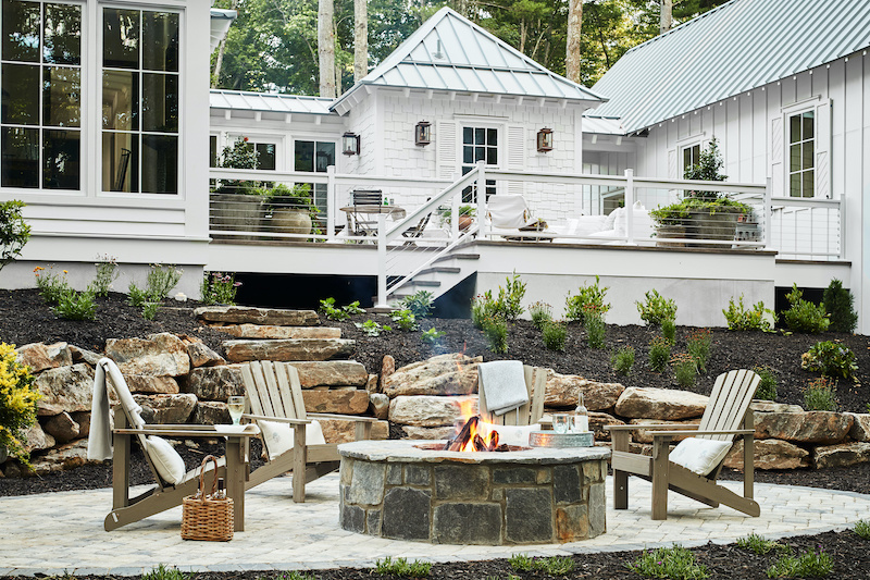 2020 Southern Living Idea House back deck and fire pit area.