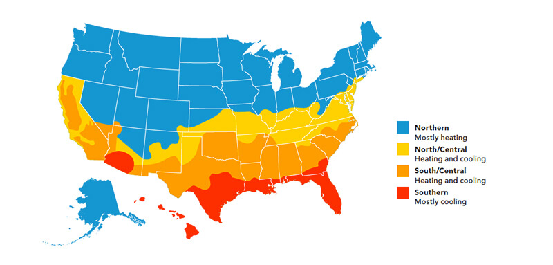Climate zone chart to help with Energy Star recommendations throughout the United States of America