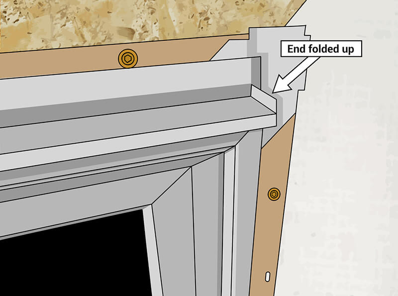 Illustration of how to fold flashing ends up or down