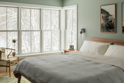 Bedroom with large Marvin Windows