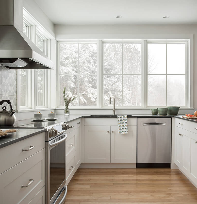 Farmhouse style kitchen with multiple Marvin Windows