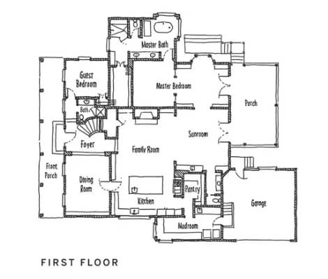 Floor plan of first floor of home