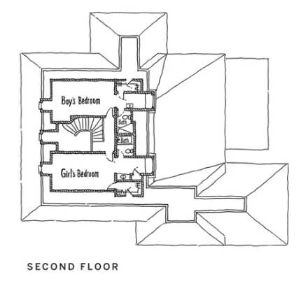 Floor plan of second floor of home