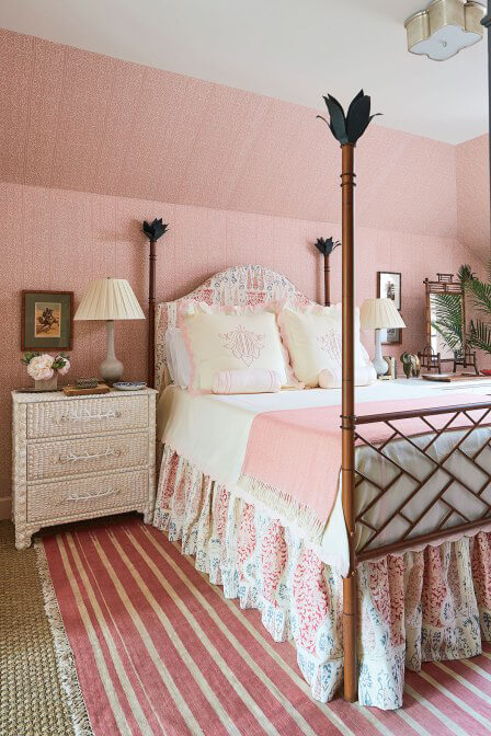 Girls bedroom decorated in pink decor
