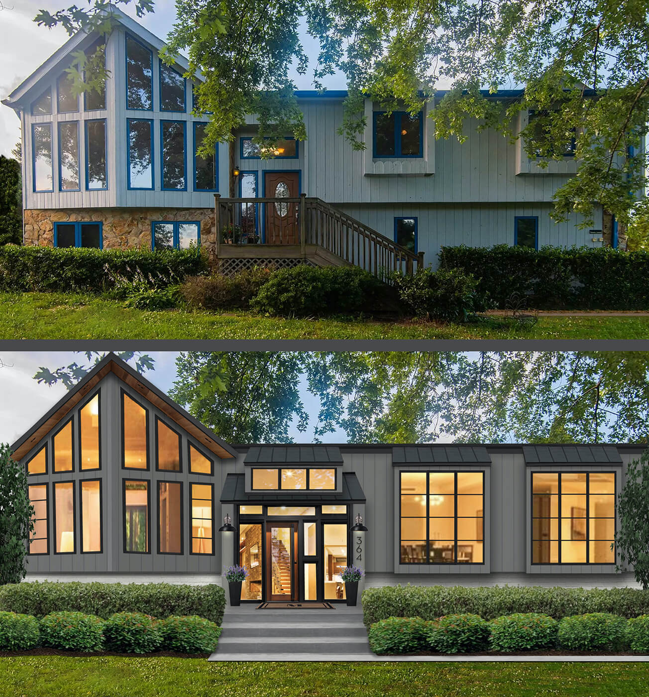 Before and after images of brick&batten home project including new windows and exterior features.
