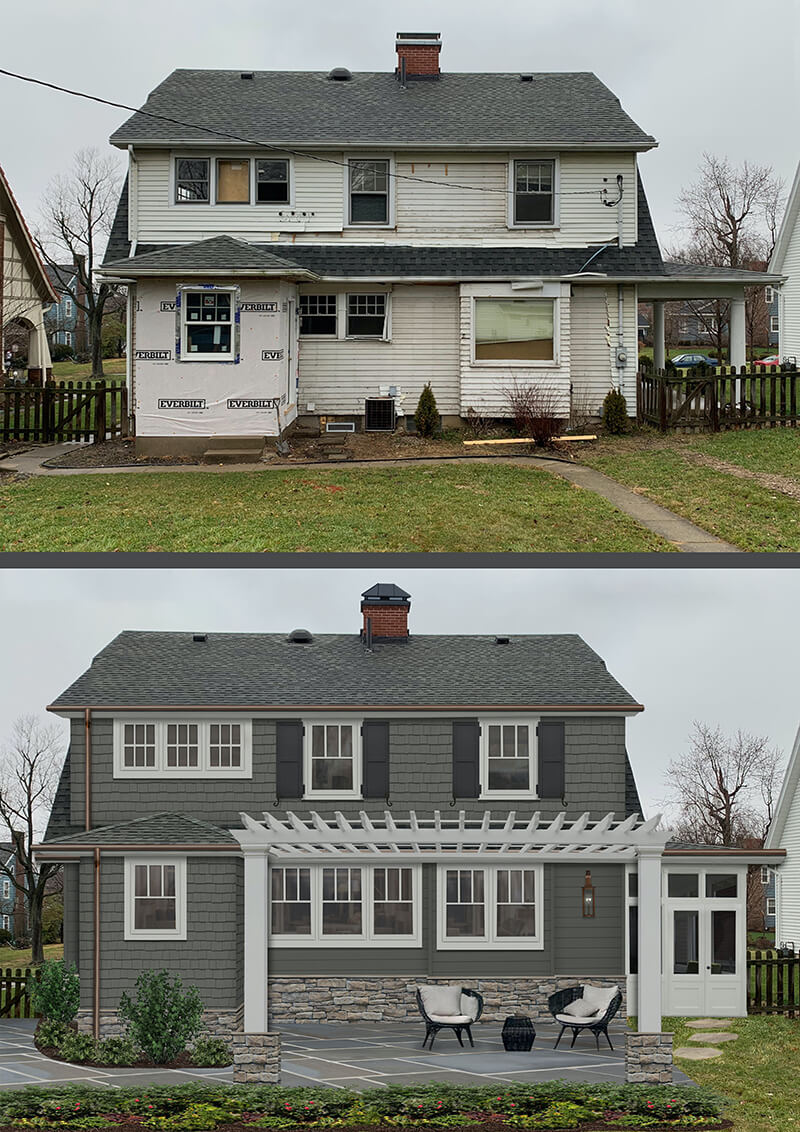 Before and after images of brick&batten home project featuring new windows and exterior features to the rear of the home.