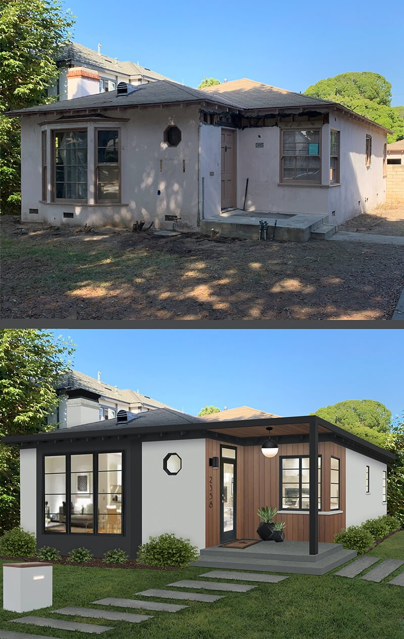 Before and after images of brick&batten home project featuring new windows and exterior features.