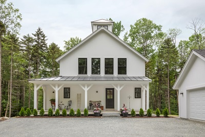 White Farmhouse with Marvin Windows and Doors
