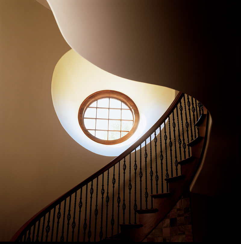Looking up a winding staircase