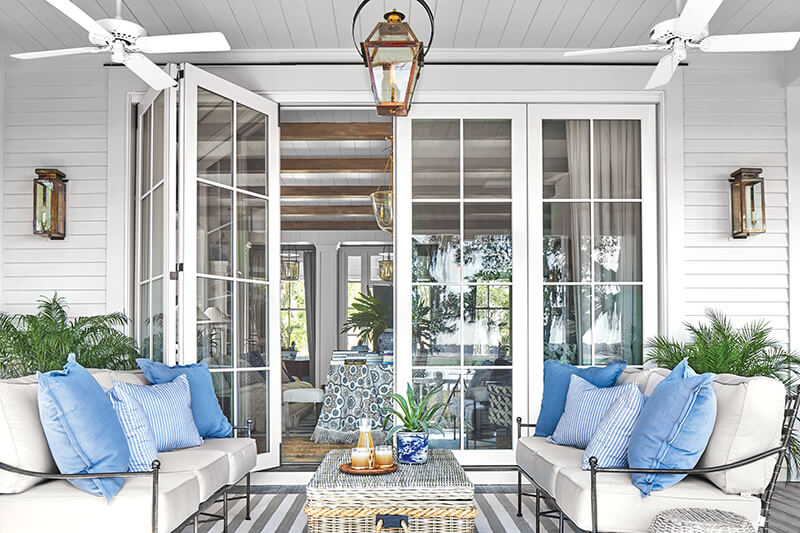 A porch featuring a Marvin Ultimate Bi-Fold Door.