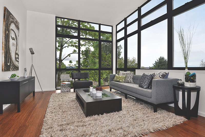 Living room with large Marvin Windows