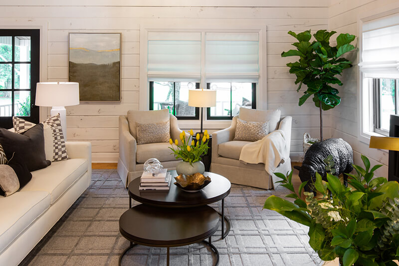 Large living room with Marvin Windows seen on HGTV Property Brothers episode
