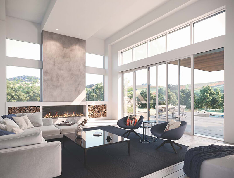 Living room with multiple Marvin Modern windows