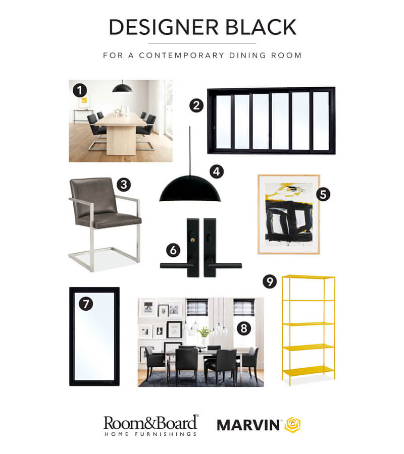 Marvin and Room&Board Home Furnishings Designer Black Dining Room Combinations