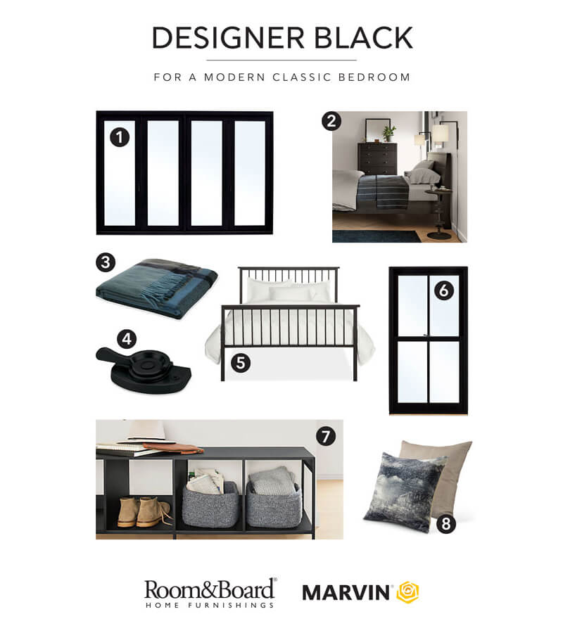 Marvin and Room&Board Home Furnishings Designer Black Bedroom Combinations
