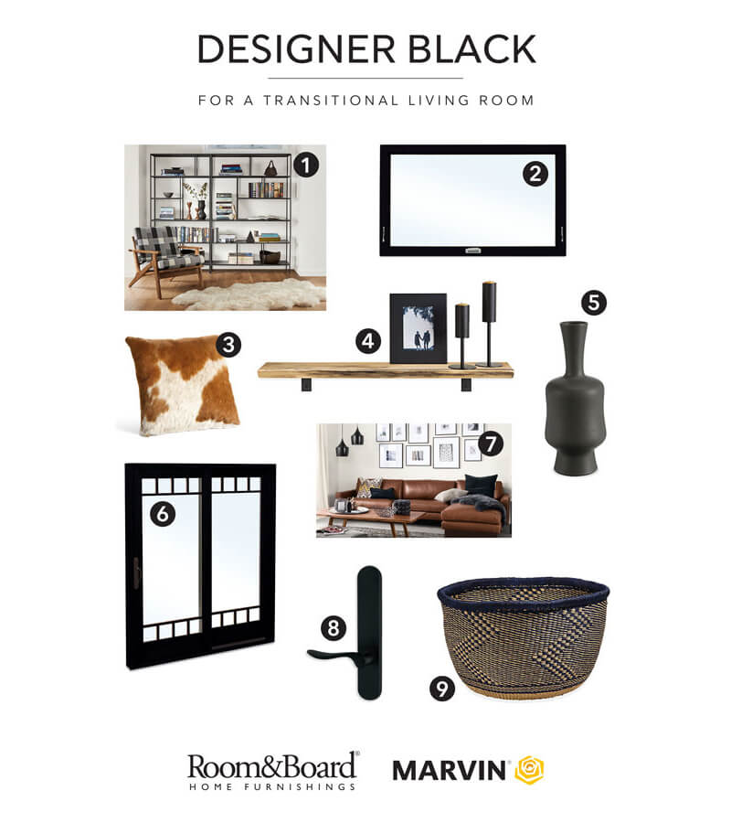 Marvin and Room&Board Home Furnishings Designer Black Living Room Combinations