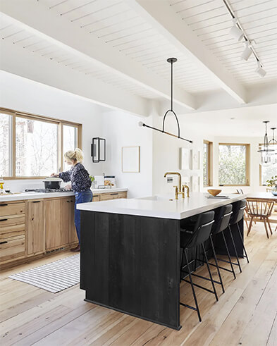 Emily Henderson's open concept kitchen at her Mountain Home