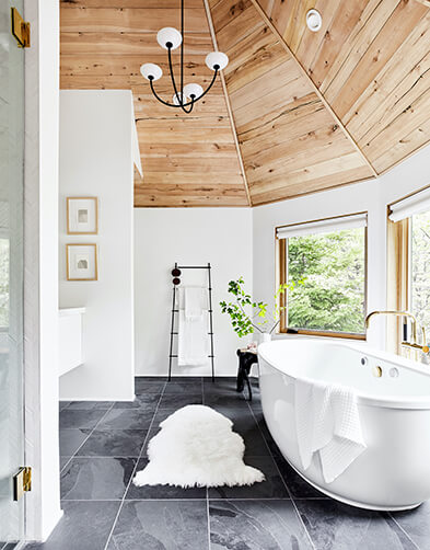 Emily Henderson's master bath at her Mountain Home