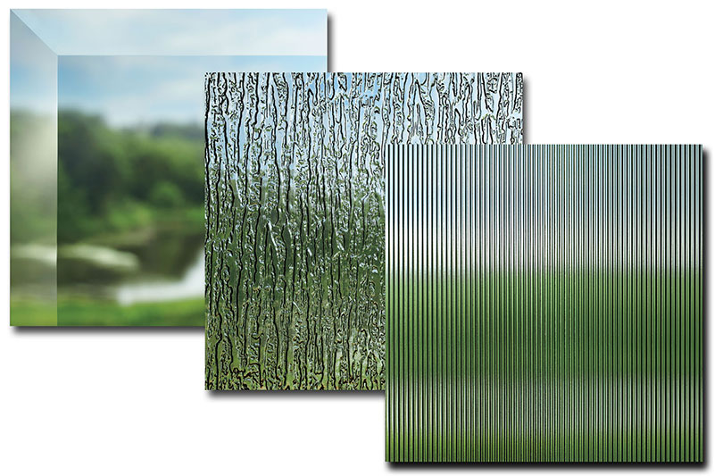 Types of decorative glass offered by Marvin for windows and doors.