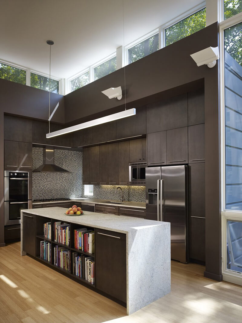 Open concept kitchen with large Marvin Door