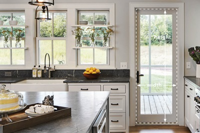 Kitchen with Marvin Windows and Doors with Door Measurement Guide