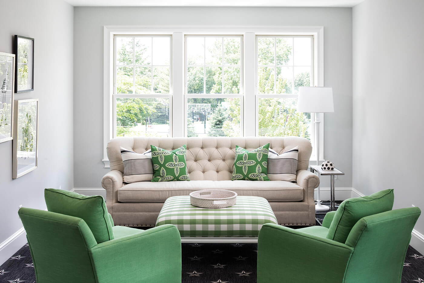 Sitting room with white Marvin windows.