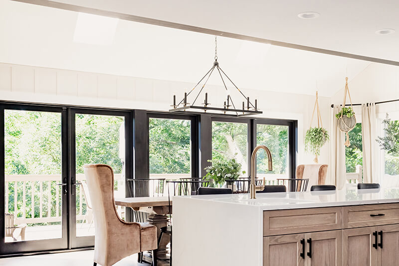 Katie Kurtz's Marvin Elevate Swinging French Patio Door in her redesigned kitchen.