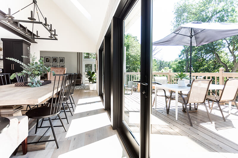 Katie Kurtz's redesigned kitchen features a Marvin Swinging French Patio Door.