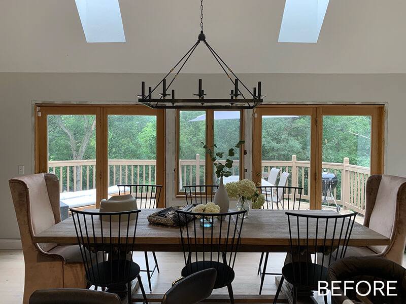 A before image of Katie Kurtz's kitchen facing the deck through patio doors.