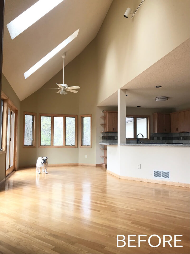 A before image of Katie Kurtz's kitchen, featuring a cameo by the family bulldog.