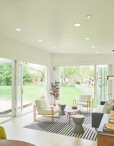 Large room with Marvin Bifold Doors