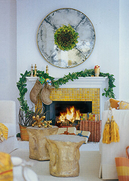 Room with fireplace all decorated for the holidays