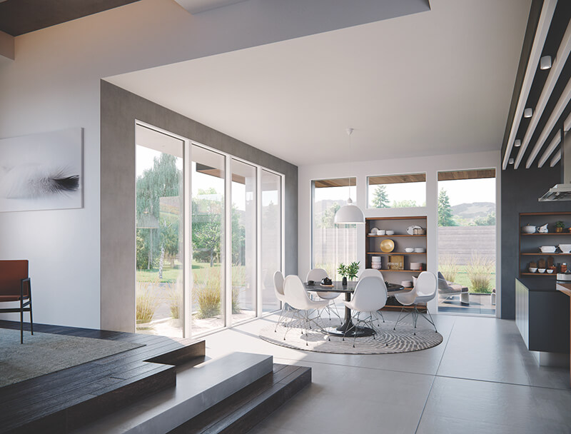 Interior Nook with Marvin Modern Direct Glaze Windows and Marvin Doors
