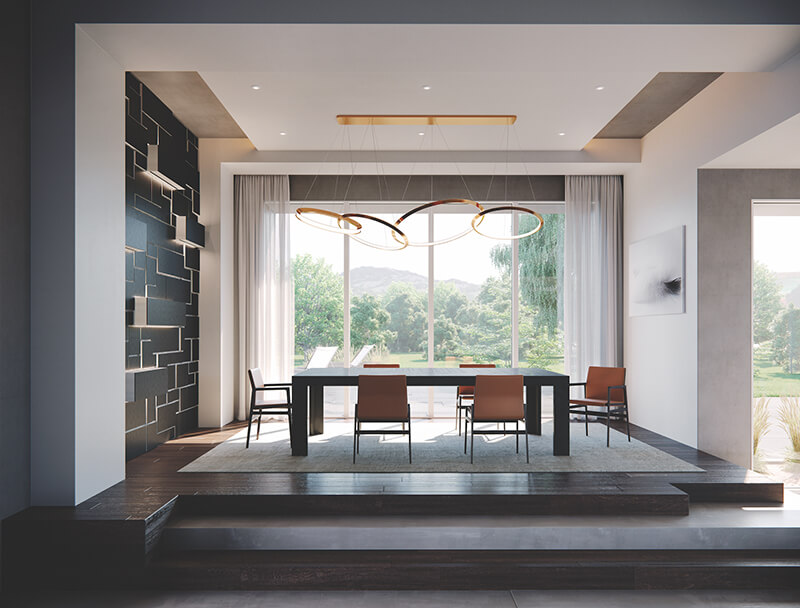Interior dining room with Marvin Modern Direct Glaze Windows and Marvin Doors