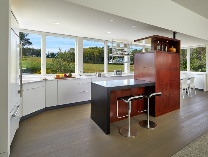 Modern farmhouse kitchen with multiple Marvin Windows