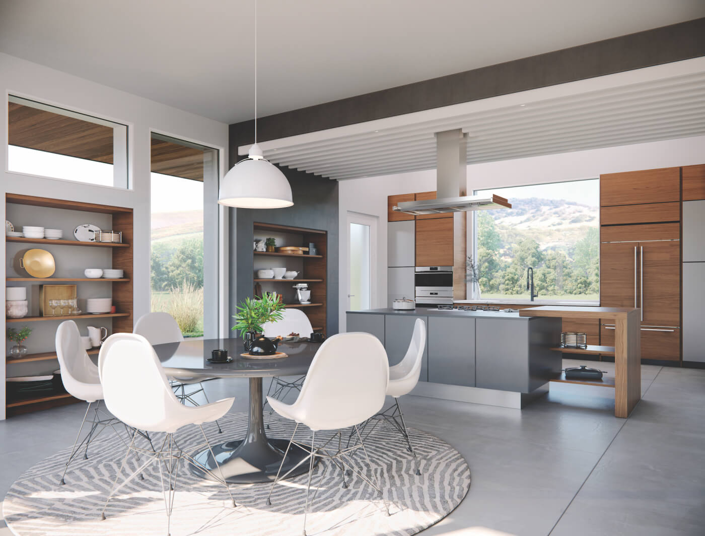 Interior Kitchen with Modern Direct Glaze Windows