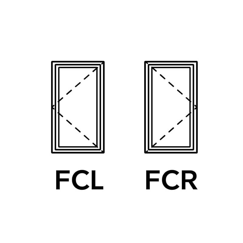 A diagram of FCL and FCR casement windows.