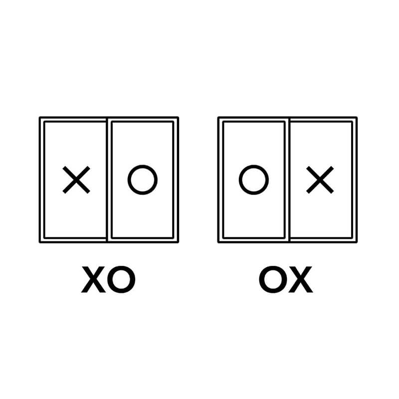A diagram of XO and OX window unit configuration.