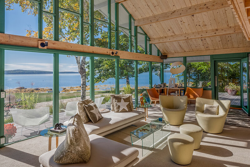 Interior of beachfront home with large Marvin Windows