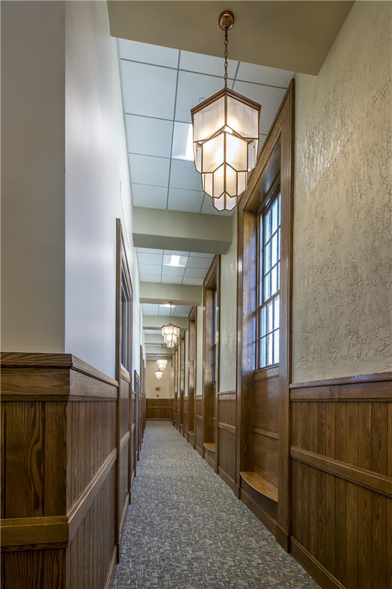 Interior hallway of Westborough Town Hall with Marvin Windows