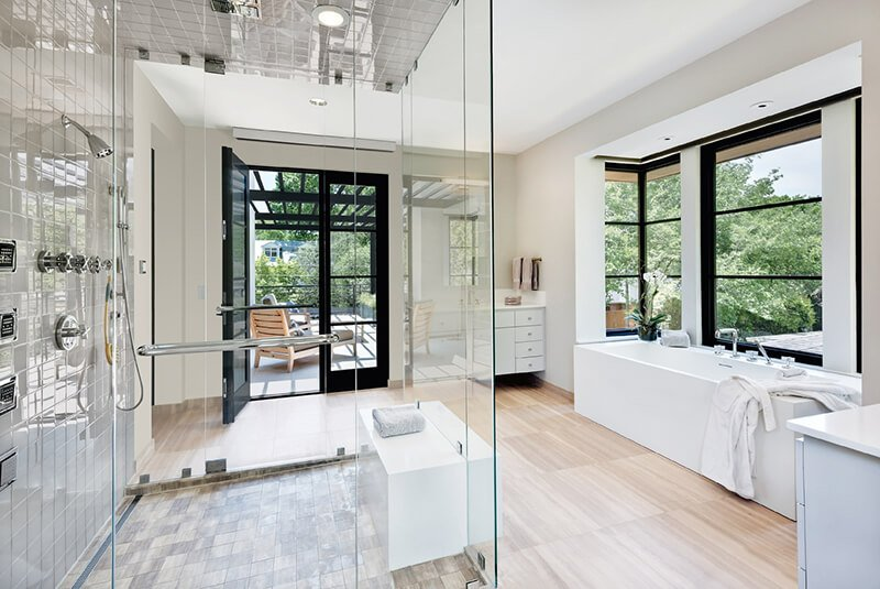 Modern style bathroom with Marvin Windows and Doors