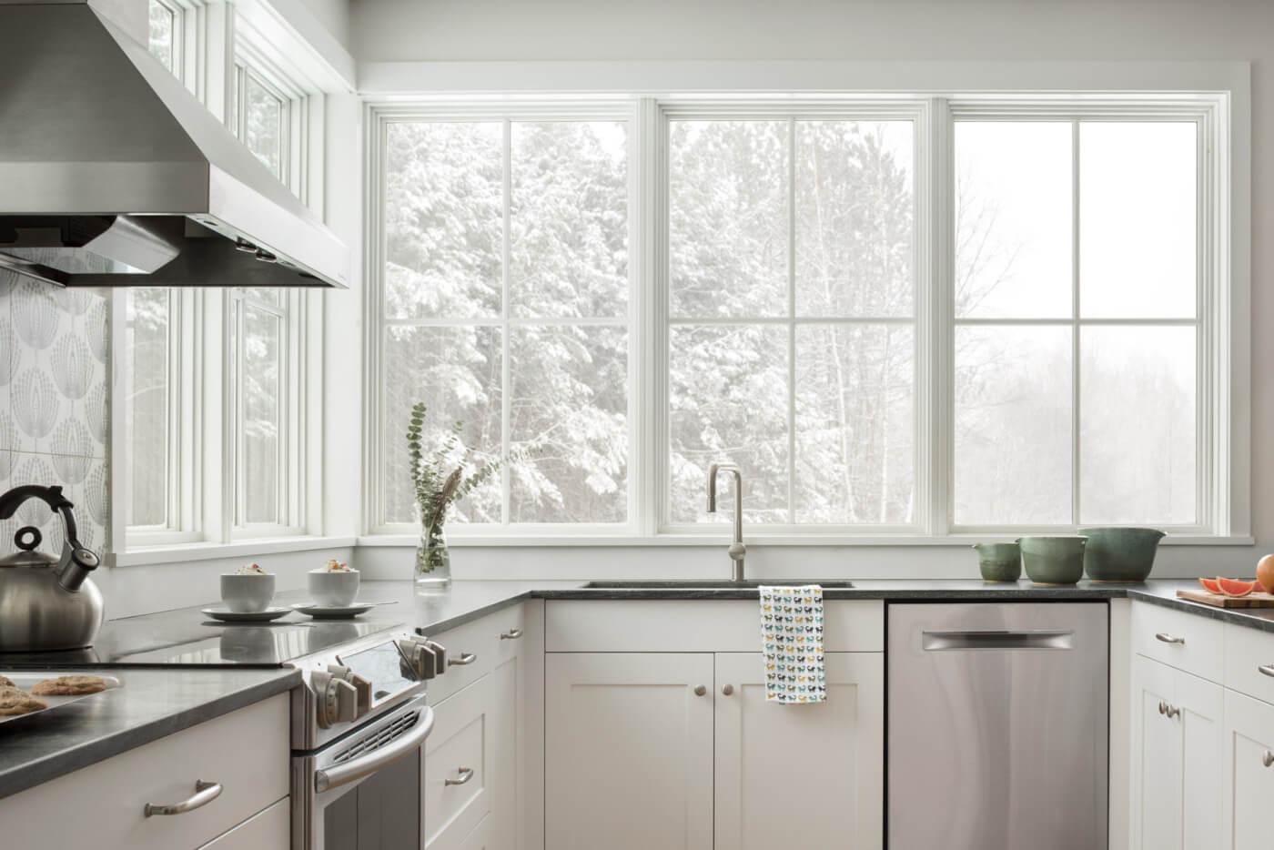 Modern style kitchen with multiple Marvin Windows