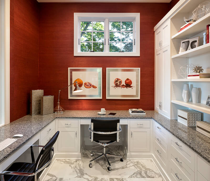 Home office with red accent wall and Marvin Windows