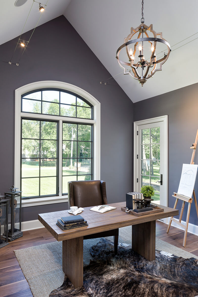 Home office with large Marvin Windows
