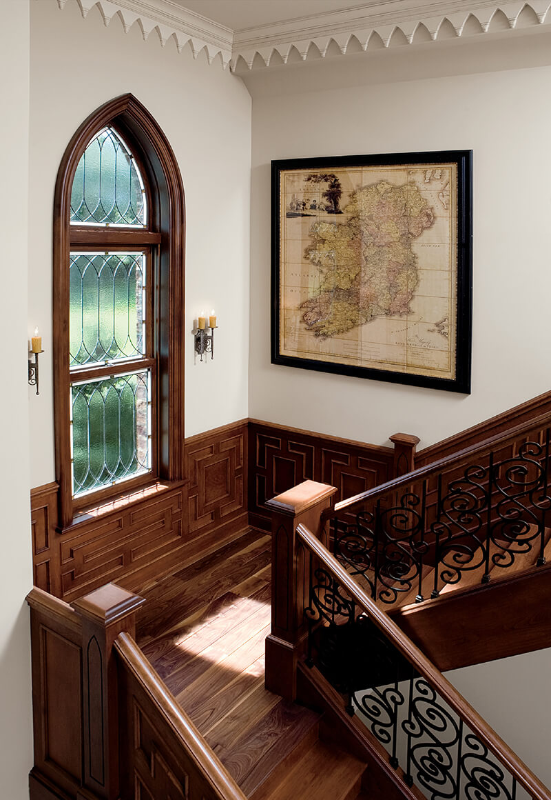 Interior Staircase featuring Specialty Shapes Avondale Gothic Window.