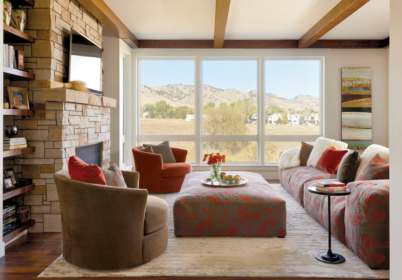 Transitional-style living room with Marvin Essential Picture windows.
