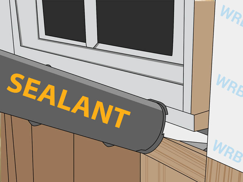 Illustration of how to create a back dam with sealant