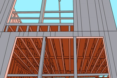 Illustration of multiple rough openings on a newly built home