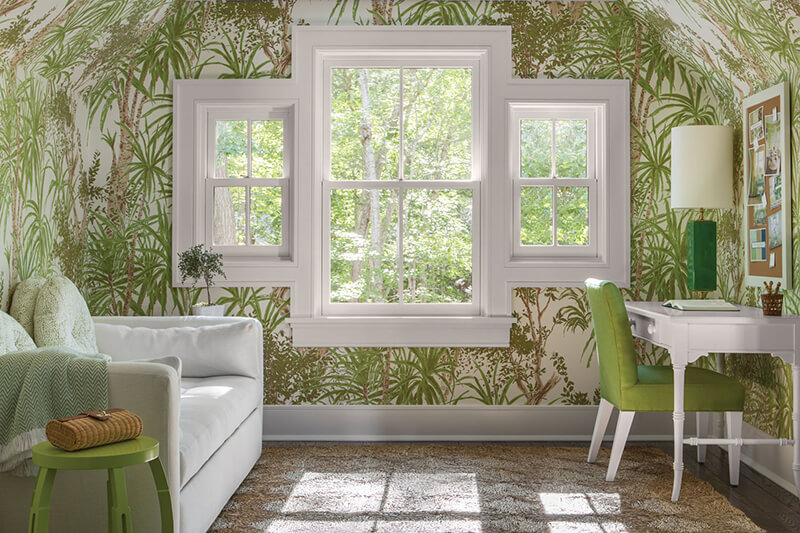 Wallpapered room with Marvin Windows