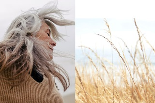 Composite image of woman enjoying the outside air and view of a field in the country